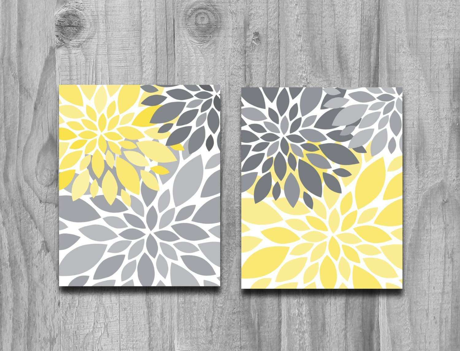 Wall Prints and Posters Lovely Yellow Gray Flower Petals Burst ...