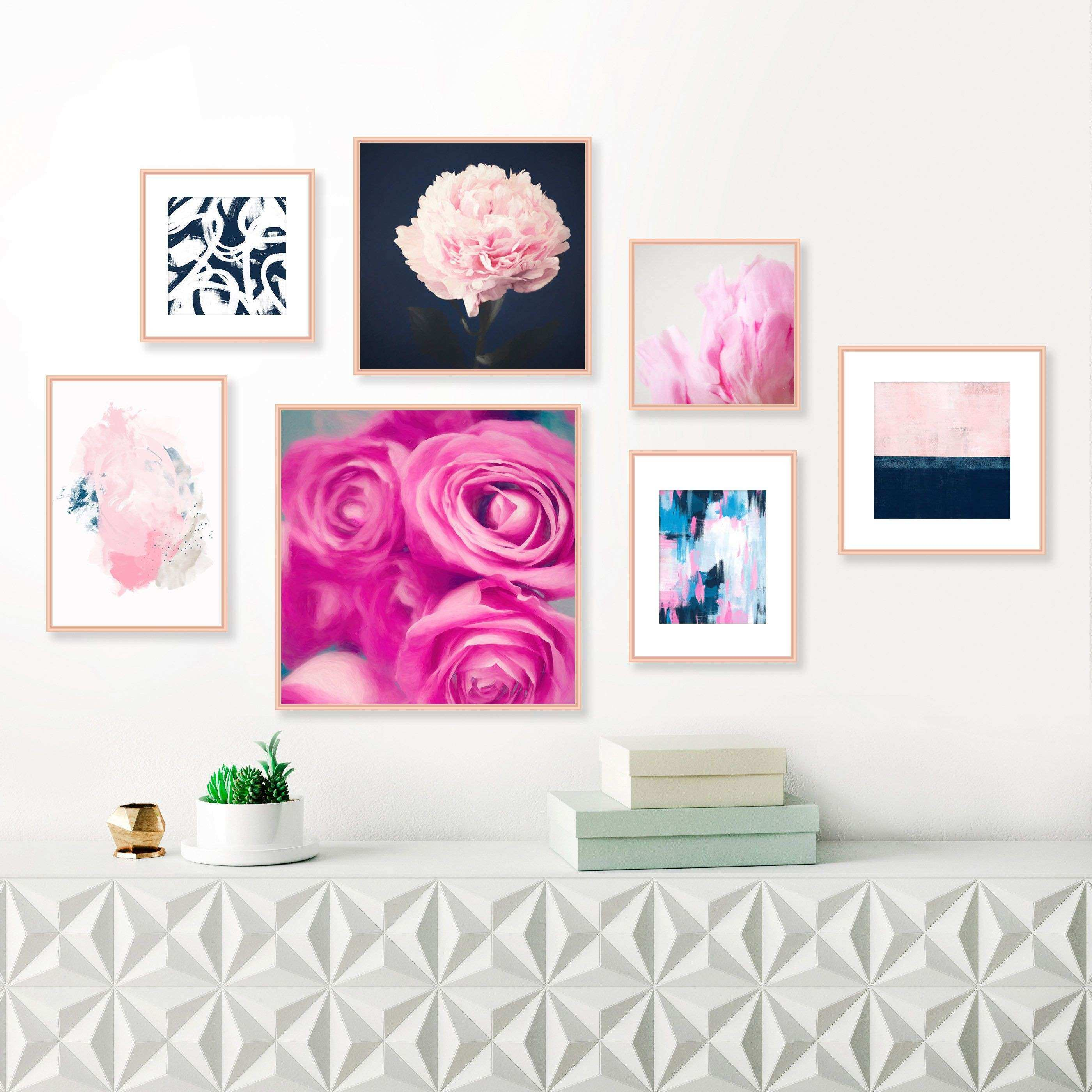 Pink and Navy Gallery Wall Prints Set of 7 Prints Modern Prints