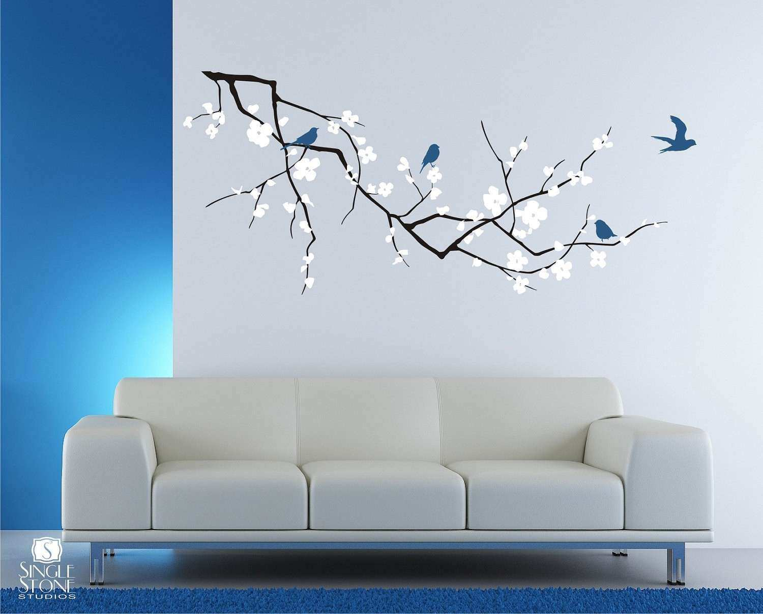 Wall Sticker Art New Cherry Blossom Tree Branch Wall Decal With Birds Vinyl  Wall