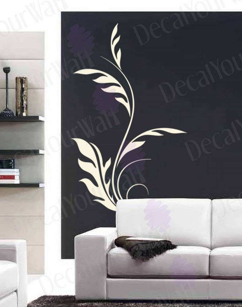 Flower Wall Decal Floral Swirl Living Room Bedroom