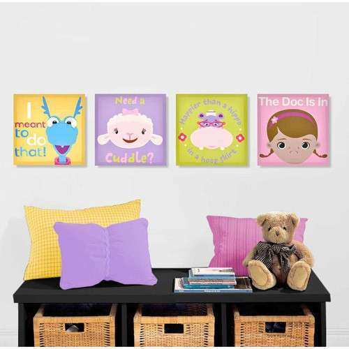 Walmart Wall Art New Disney Doc Mcstuffins 4 Pack Canvas Wall Art ...