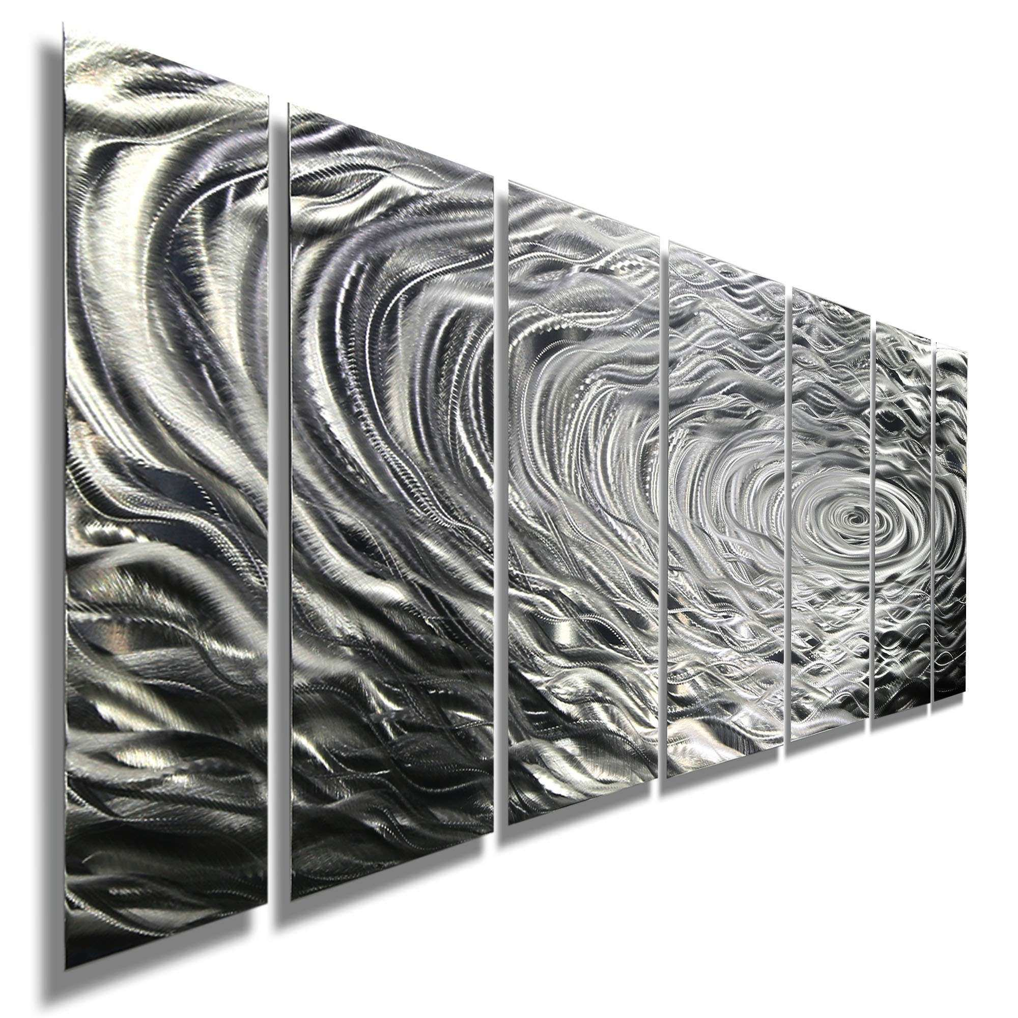 Modern Silver Abstract Metal Wall Art Home Decor Ripple