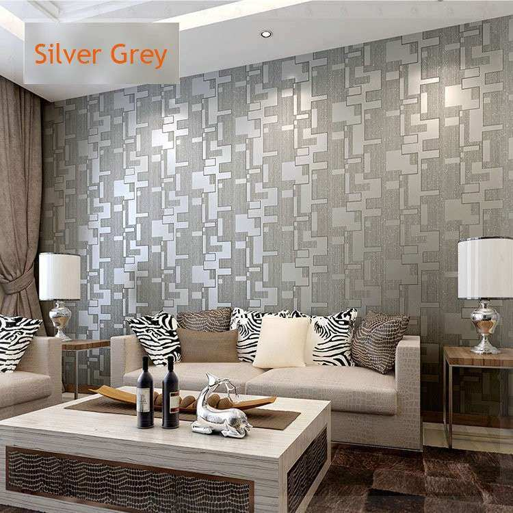 White and Silver Wall Decor Inspirational Microfiber Nonwoven Wallpaper Roll 3d Waterproof