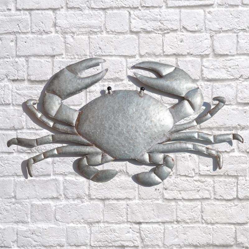 Wall Art Design Ideas Silver White Metal Crab Wall Art