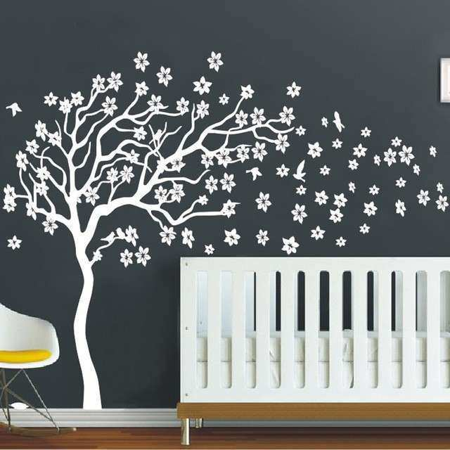 White flower wall decor awesome huge white tree flowers wall decal white flower wall decor awesome huge white tree flowers wall decal nursery tree and birds mightylinksfo