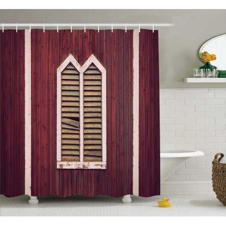 Rustic Shower Curtain Set Window Frame with Shutters on