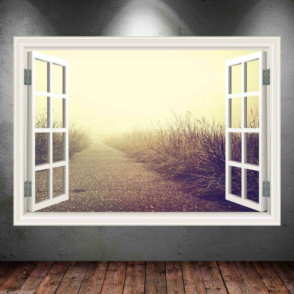 Pathway Window Frame Full Colour wall art sticker decal