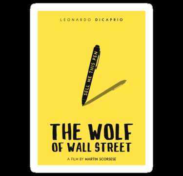"""The Wolf Wall Street film poster"" Stickers by"