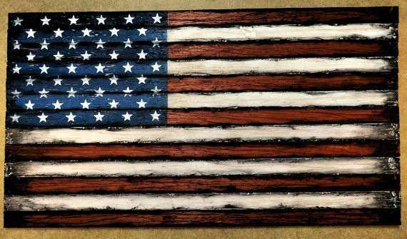 American Flag Weathered Wood e of a kind wooden vintage