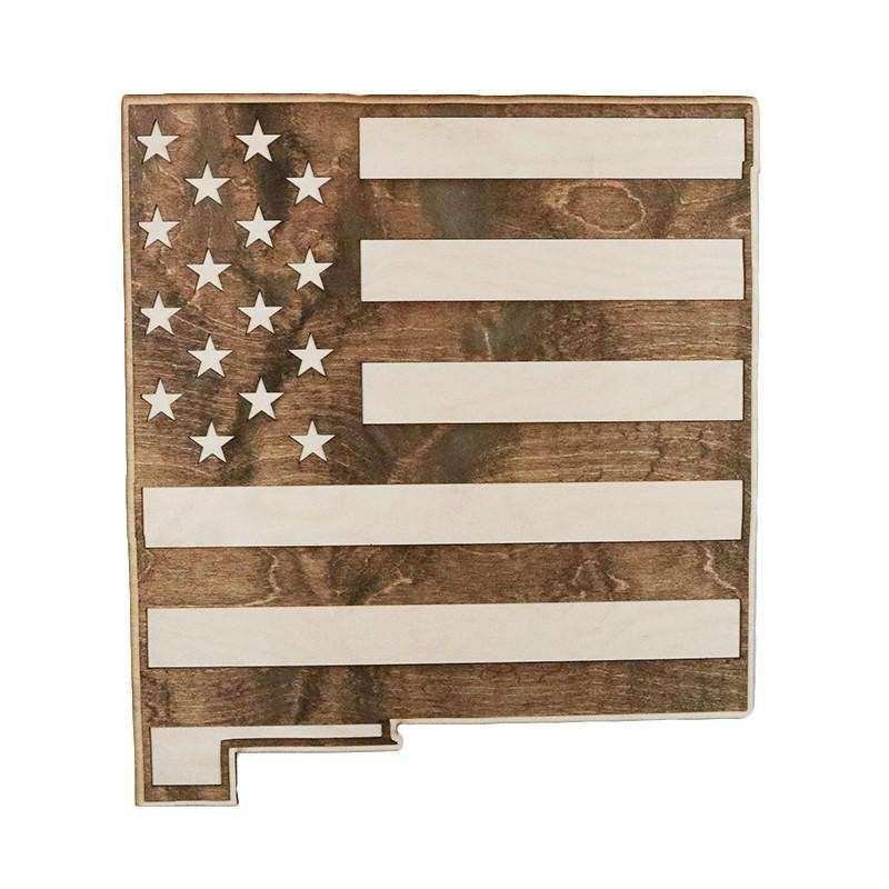 New Mexico American Flag Inversed Two Tone Wood Wall Art