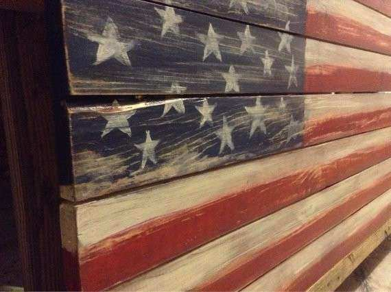 Wood American Flag Wall Hanging by KandKWorkshop on Etsy