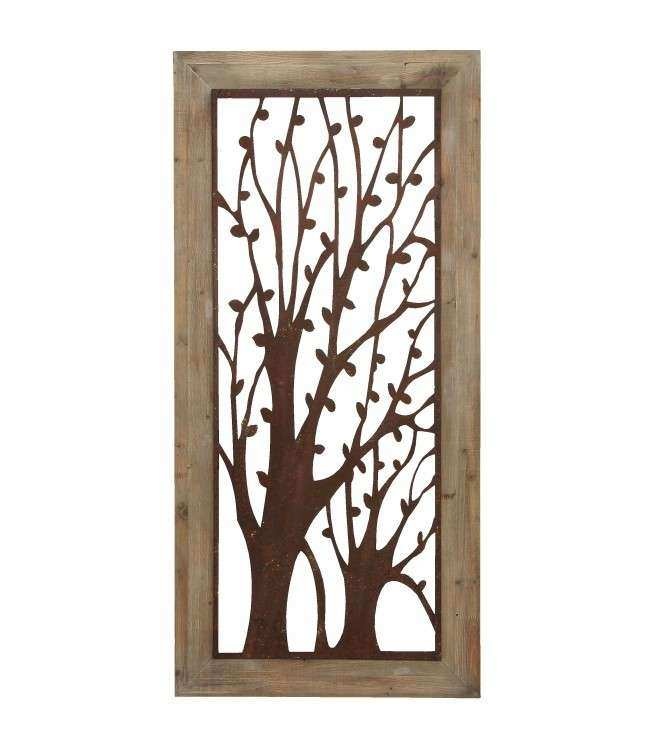 Metal Tree Wall Art Wood Frame