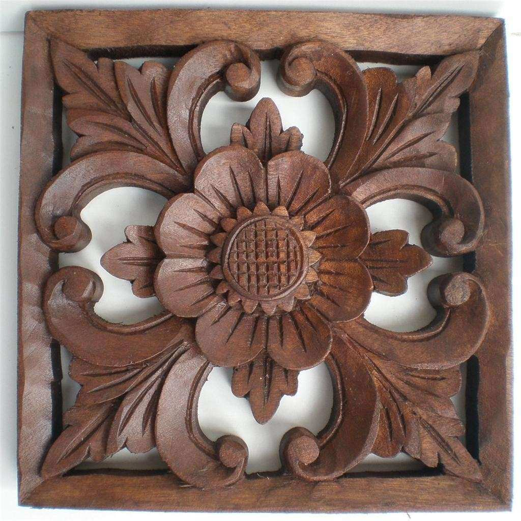 BALI TRADITIONAL SUNFLOWER WOOD CARVED WALL ART HANGING