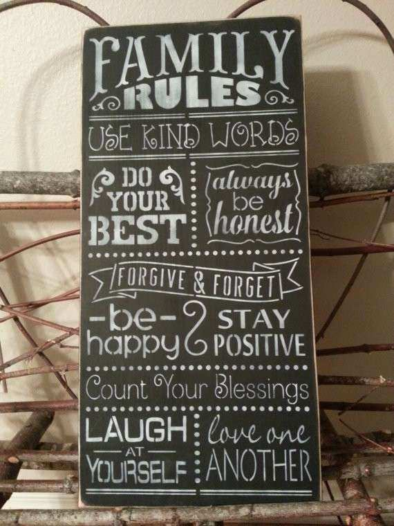 FAMILY RULES Sign Hand Painted Wood Sign Chalkboard