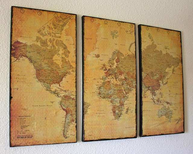 Wood map wall art inspirational 3 panel vintage world map canvas wood map wall art inspirational 3 panel vintage world map canvas wall art by just two gumiabroncs Gallery