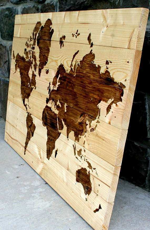 Wood Map Wall Art Unique Items Similar to Rustic Wood World Map Wall ...
