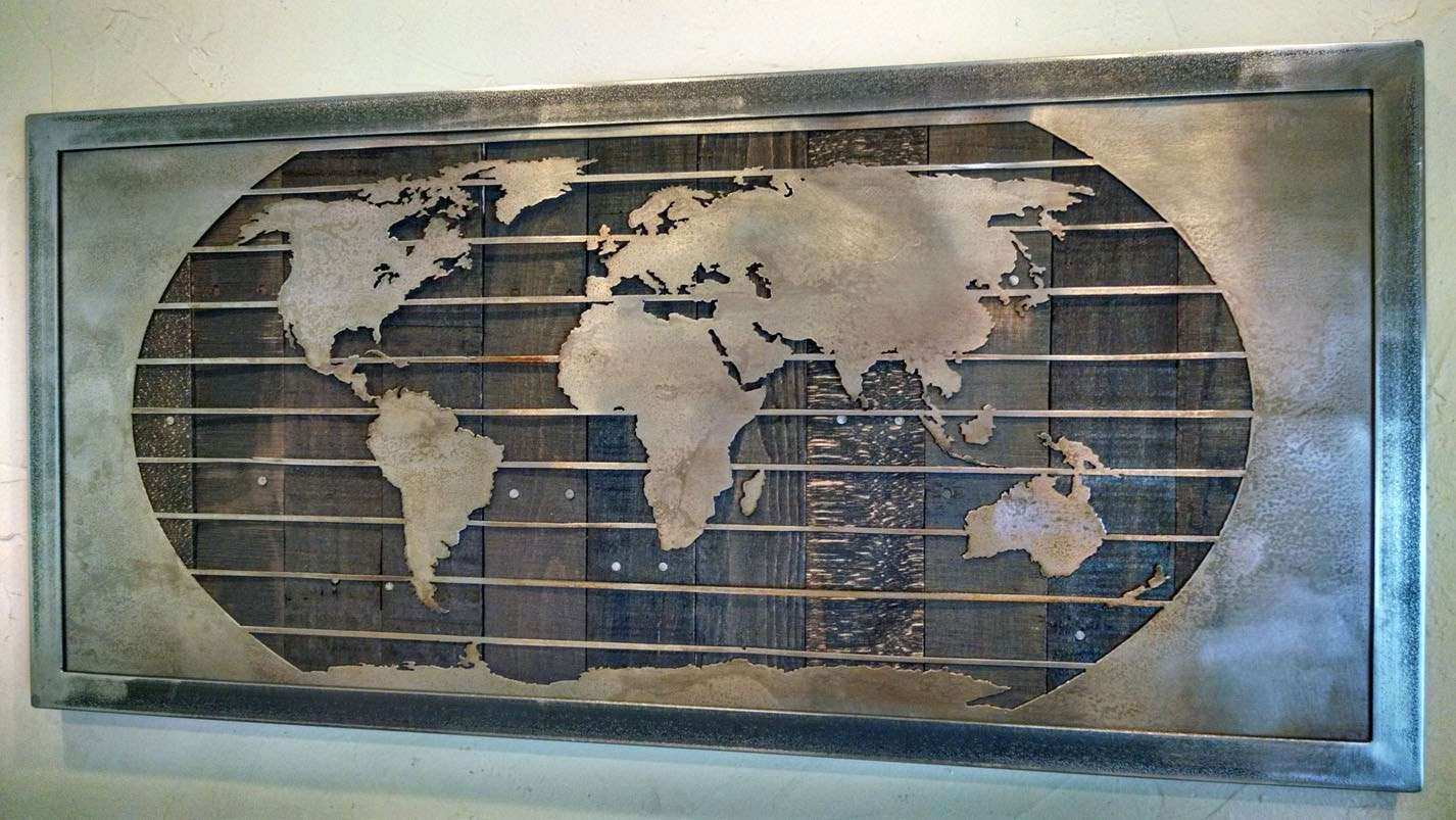 Wood metal wall art best of metal world map wall art sculpture 3 wood metal wall art best of metal world map wall art sculpture 3 sizes reclaimed gumiabroncs Image collections