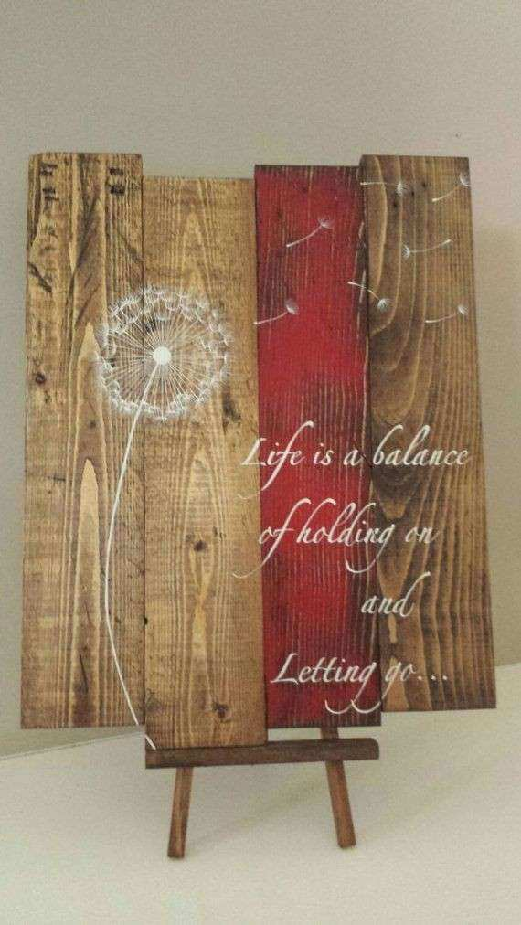 Reclaimed wood wall art Life is a balance of holding on