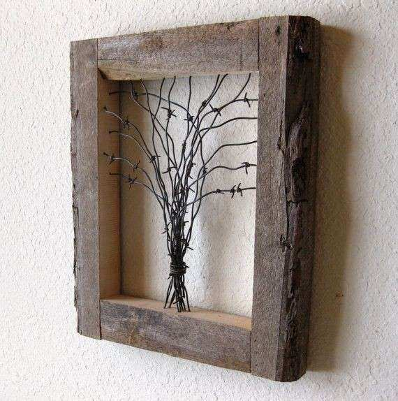 Reclaimed Barn Wood and Barbed Wire Tree Wall Art