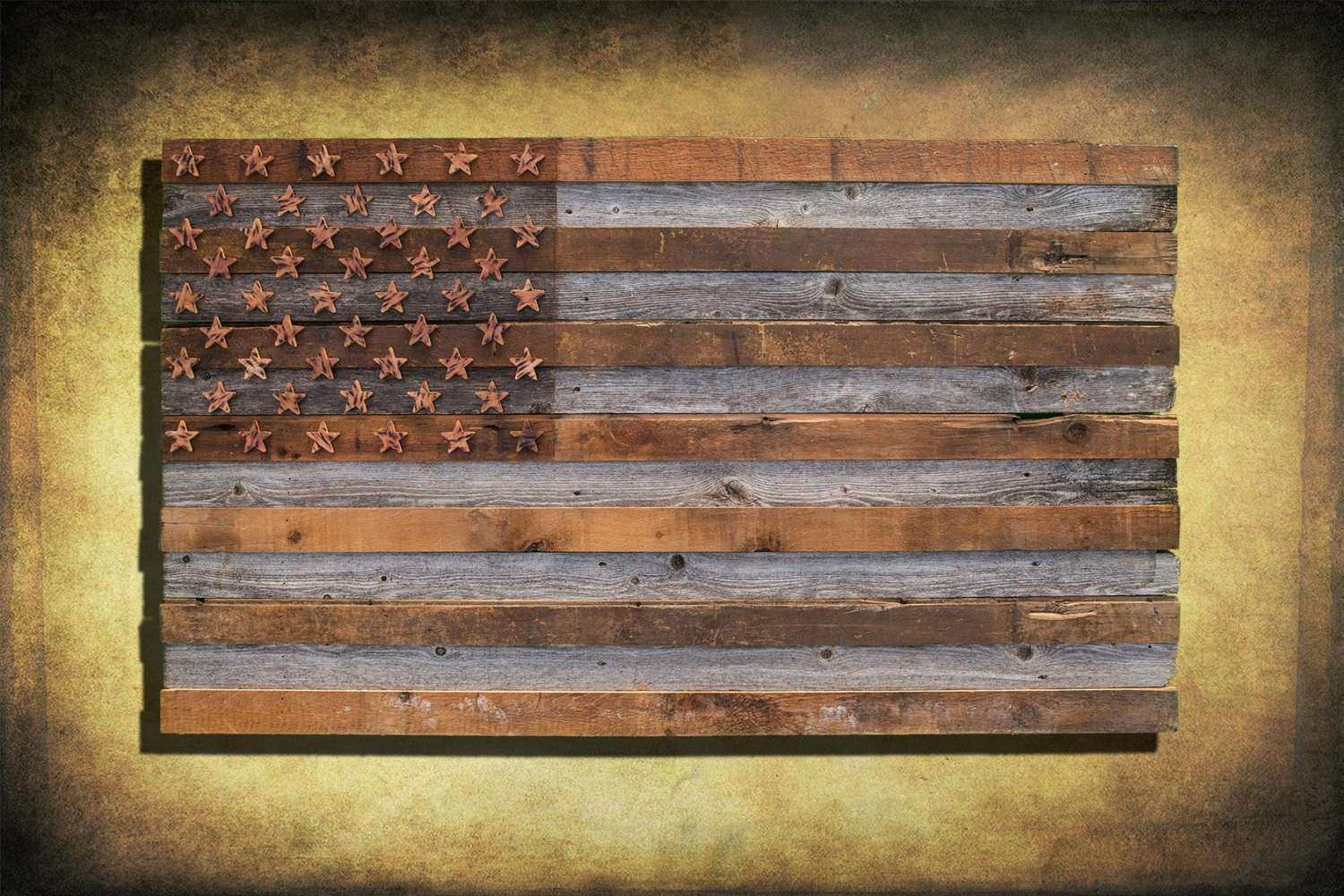 Barnwood American Flag 100 year old Wood e of a kind