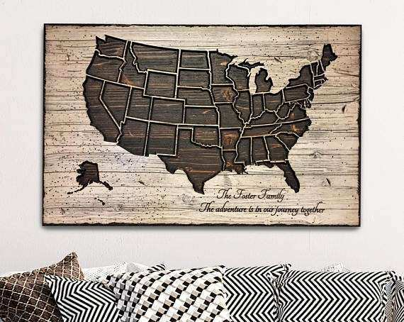 Wood US map wall art carved united states map us map with