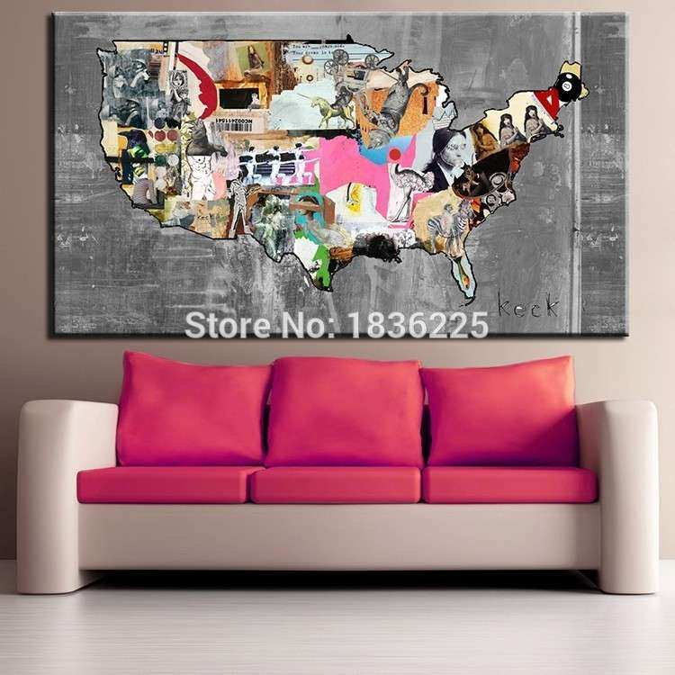 United States Map Home Decor United States Map Canvas Wall
