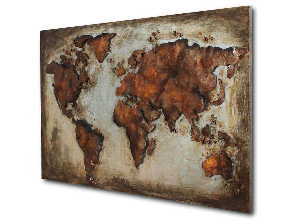 abstract metal world map