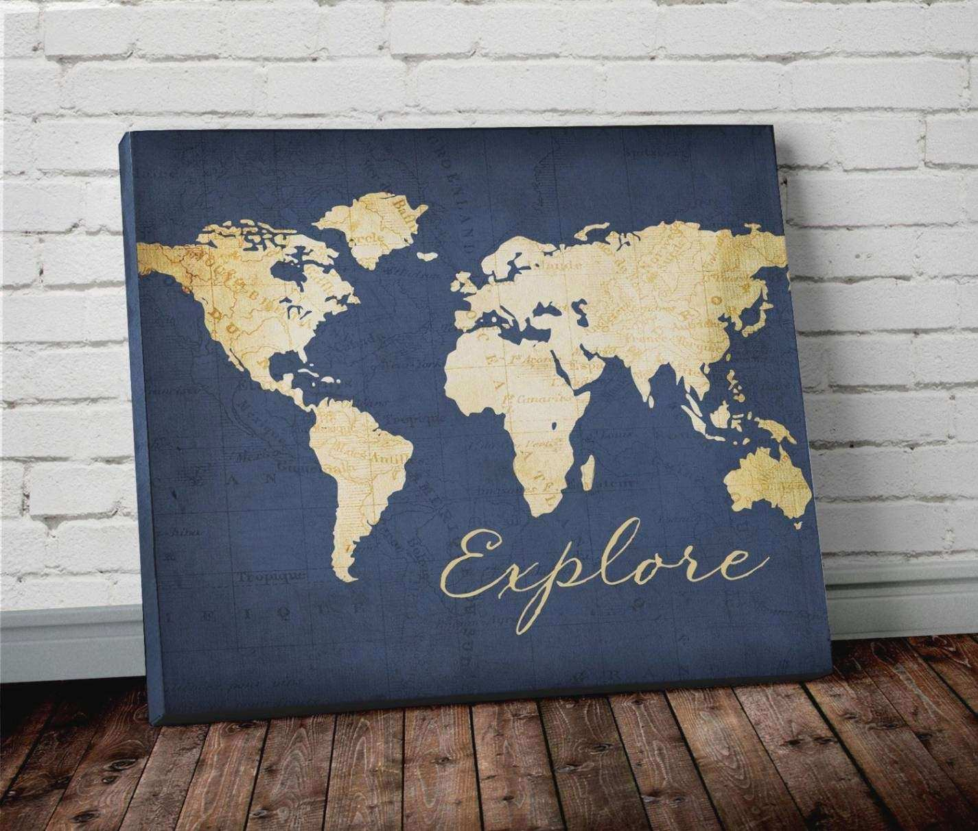 20 Best Ideas of World Map Wall Art Painting