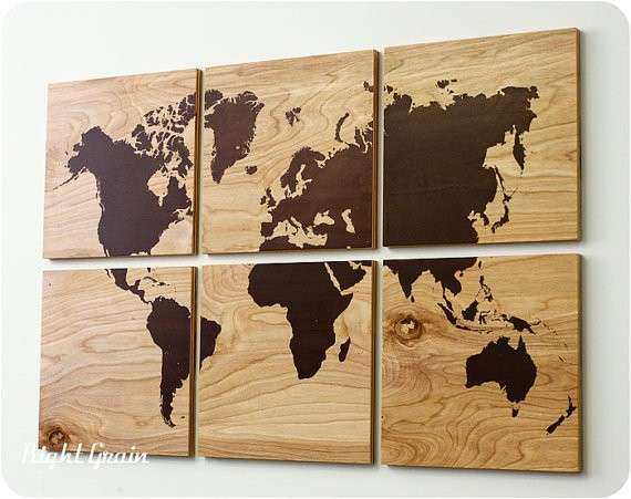Wood Grain World Map Screen Print from RightGrain on