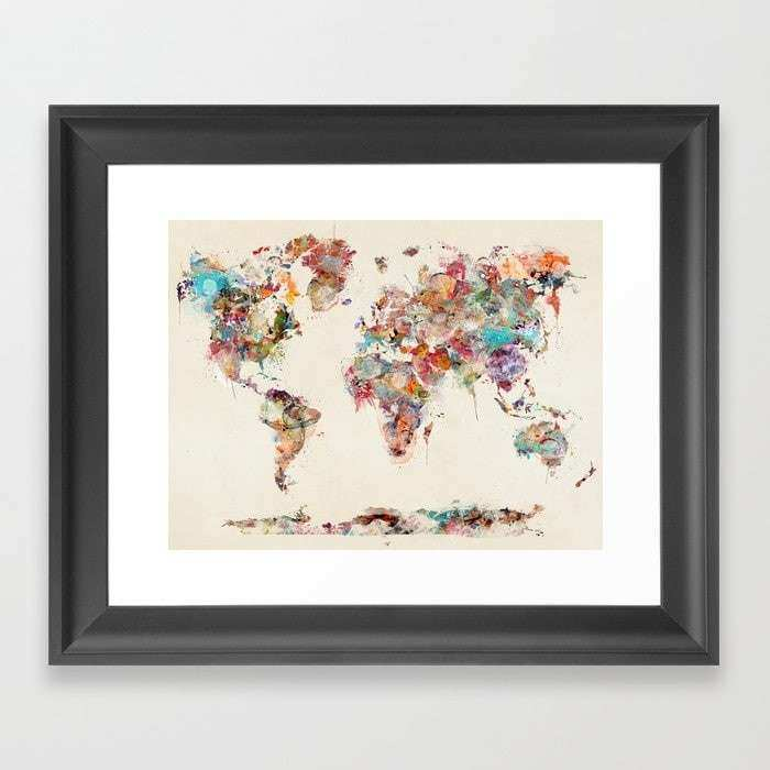 world map watercolor deux Framed Art Print by bribuckley