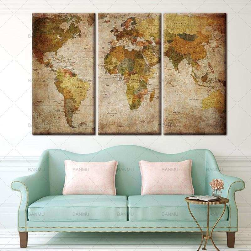 World map wall decor unique vintage world map wall art home decor world map wall decor unique vintage world map wall art home decor canvas panel print gumiabroncs Choice Image