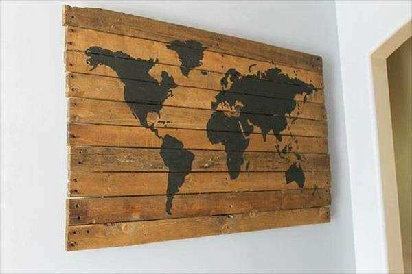 Decorate Your Walls with DIY Pallet Map Wall Art