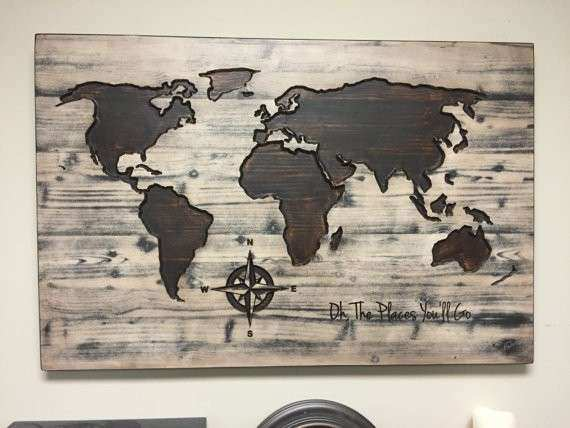 World map wall art Oh the Places You ll Go Vintage