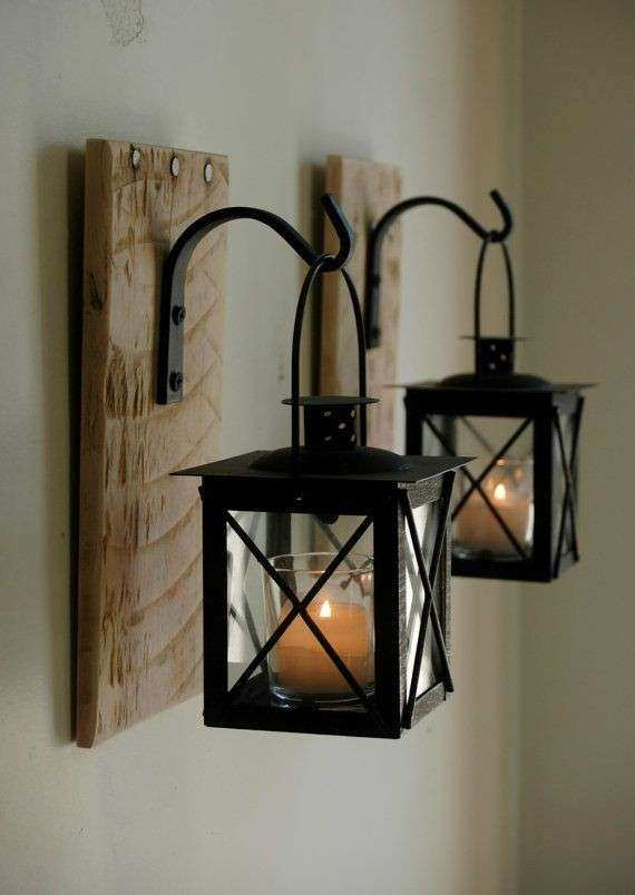 Lantern Pair 2 with wrought iron hooks on recycled wood