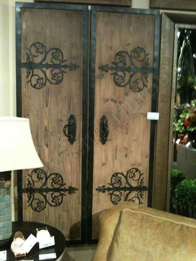 Set 2 Barn Door Wood Panels Wall Art Antiqued Distressed