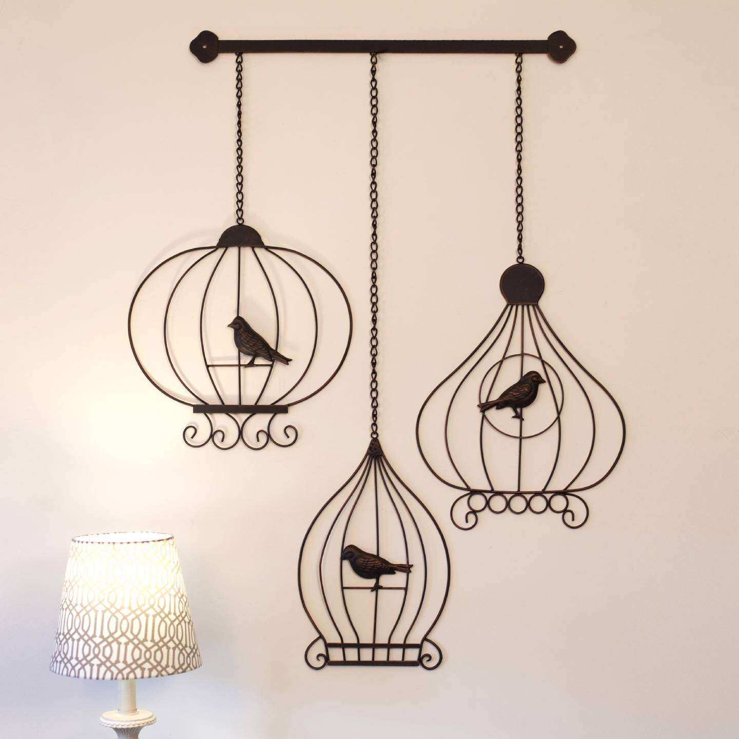 Wrought Iron Outdoor Wall Decor Beautiful Wrought Iron Metal Wall Art 52cm Vintage Birdcages