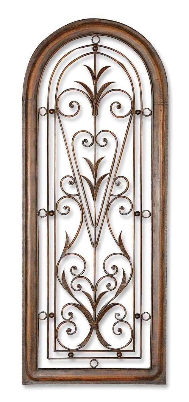 Tuscan Decor Scroll Wrought Iron Metal Wall Grille
