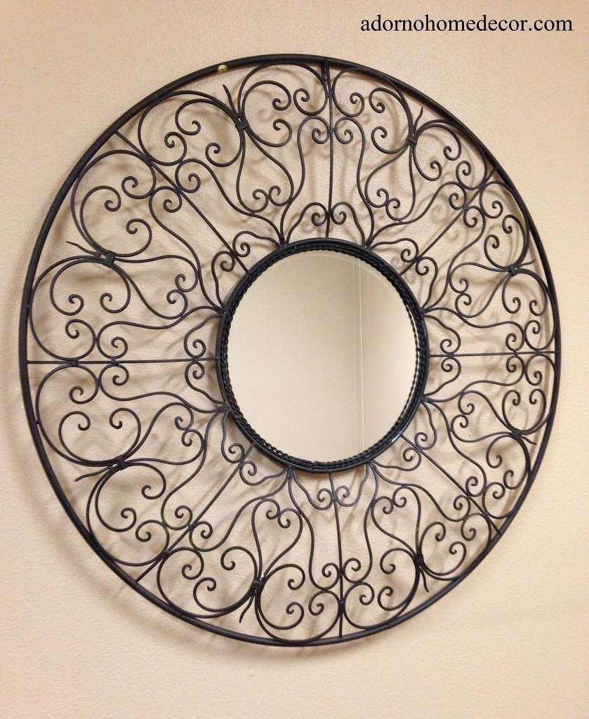 Round Wrought Iron Mirror Rustic Scroll Unique Metal