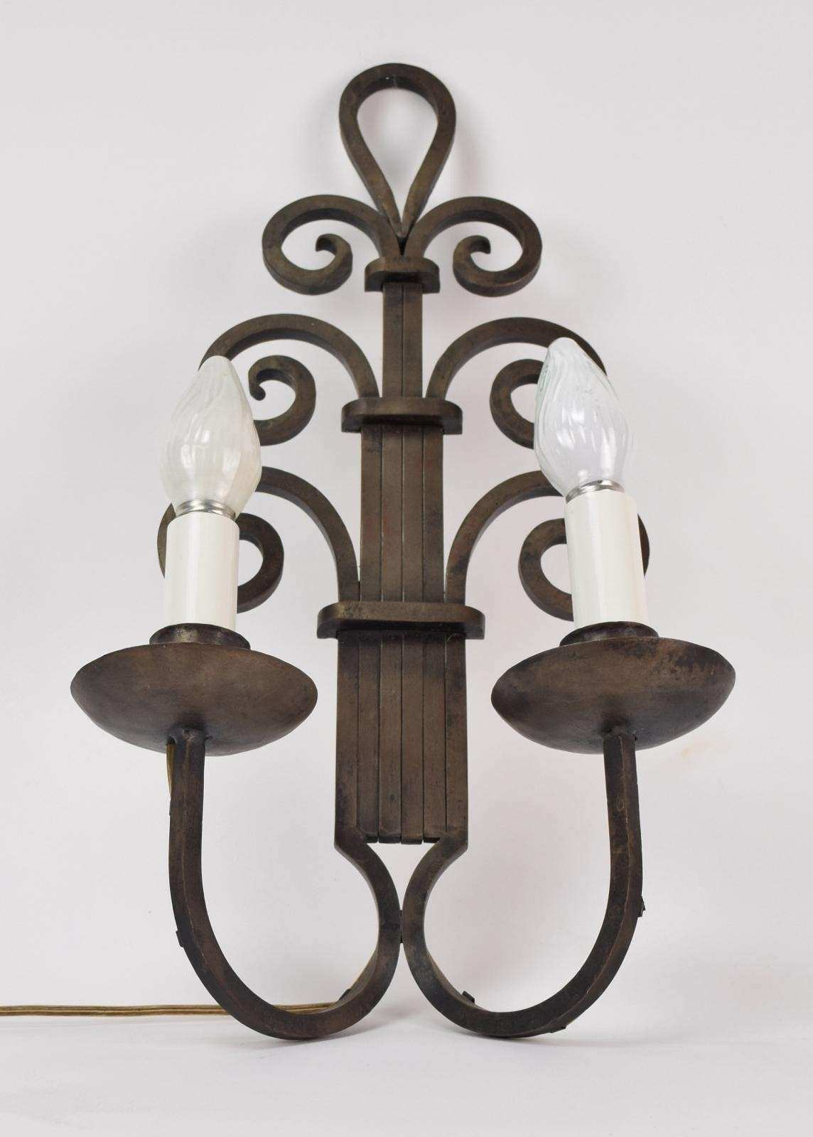 1930s Art Deco Gothic Wrought Iron Scroll Wall