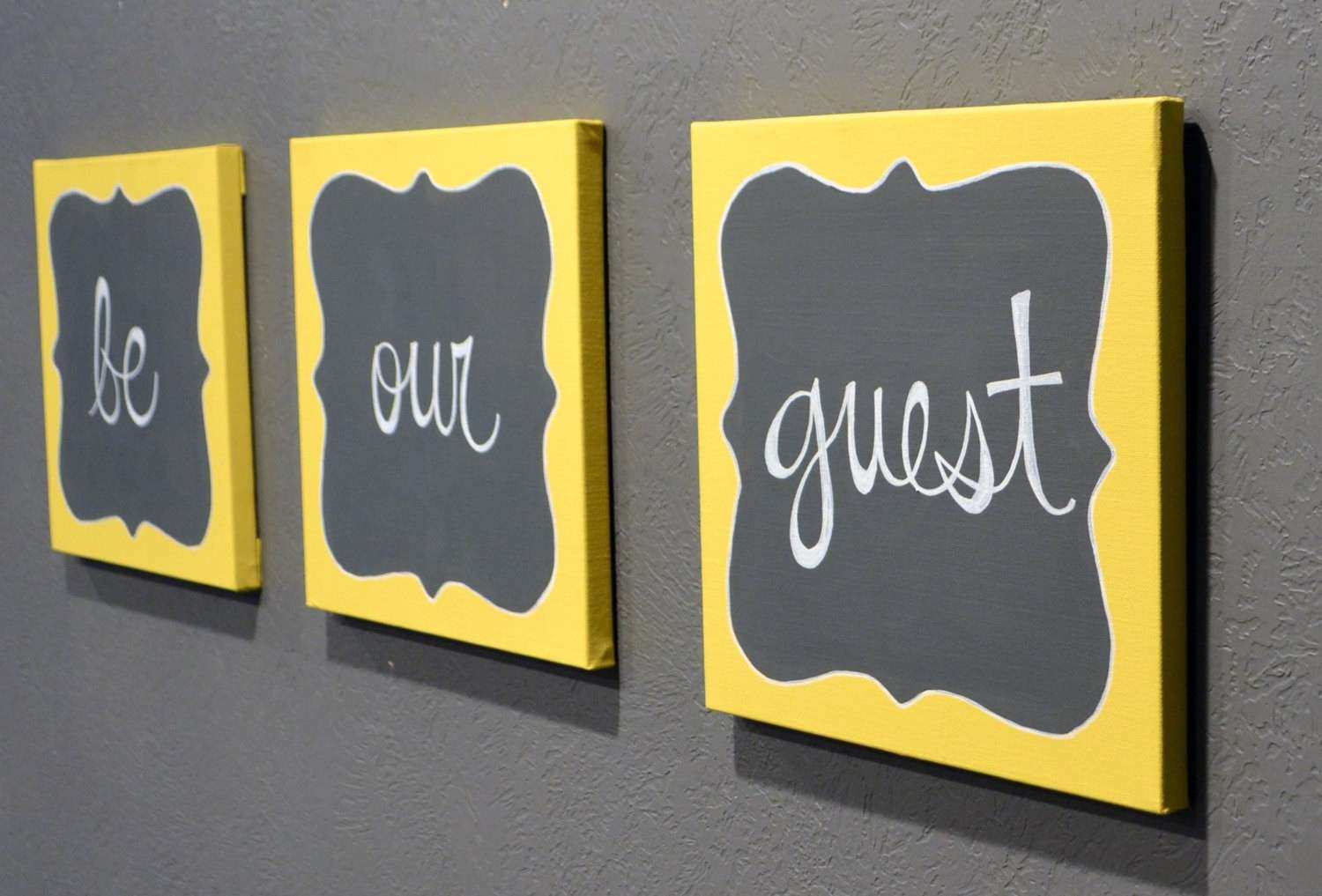 Yellow and Gray Wall Decor Best Of Be Our Guest Canvas Painting Set ...