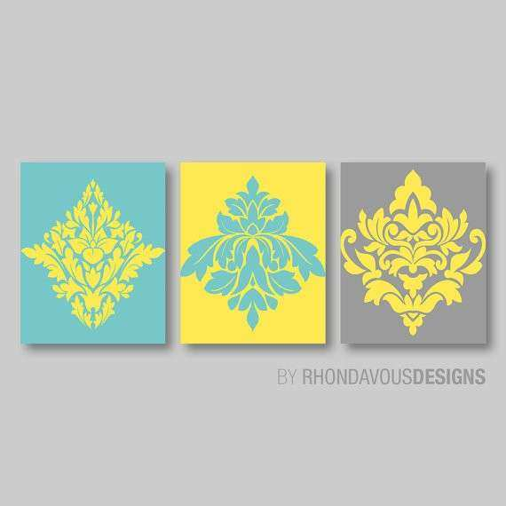 Yellow and Gray Wall Decor Inspirational Teal Blue Yellow Gray ...