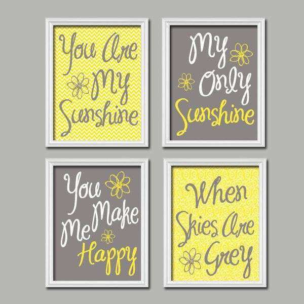 Yellow Gray Nursery You Are My SUNSHINE Wall Art CANVAS