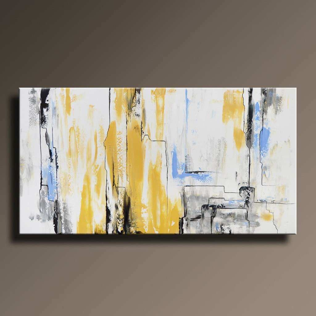 ABSTRACT PAINTING Yellow Gray White Black Blue Painting by
