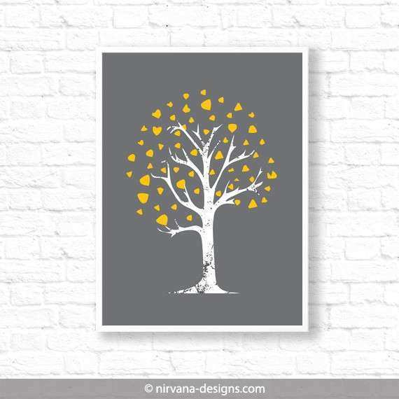 Tree Home Decor Yellow Grey Mid century Modern Abstract