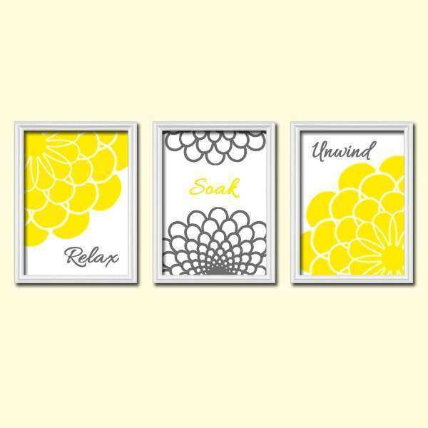 Yellow And Grey Wall Art New Shower Curtain Bathroom Canvas Artwork By Trmdesign
