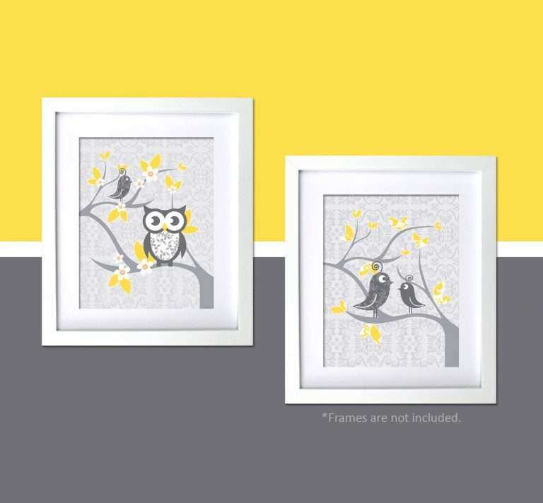 Yellow And Grey Wall Decor Inspirational Modern Nursery Art Gray Bird Themed
