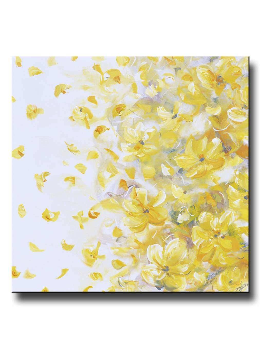 ORIGINAL Art Yellow Grey Abstract Painting Flowers Modern