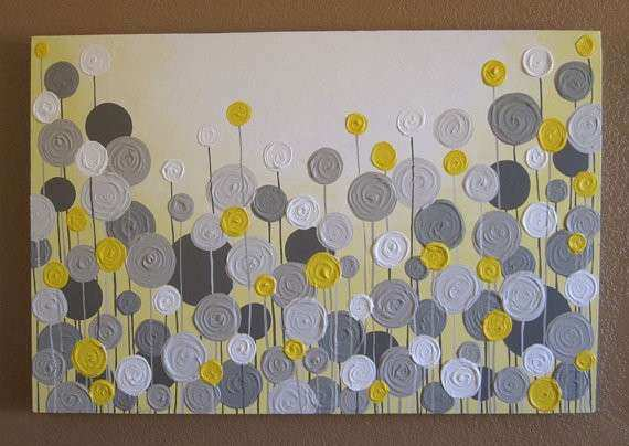 Yellow and Grey Wall Art Textured Painting Abstract Flowers