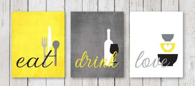 Yellow Wall Decor Lovely Kitchen Wall Art Print Set Eat Drink Love ...