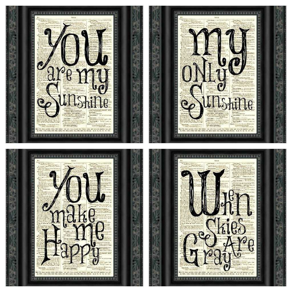 You are My Sunshine Wall Art Awesome You are My Sunshine Wall Art Printed An Upcycled 1897